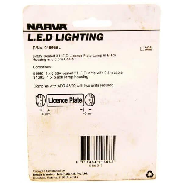 91666BL Narva 9–33 Volt 3 L.E.D License Plate Lamp Black Housing /& 0.5M Cable